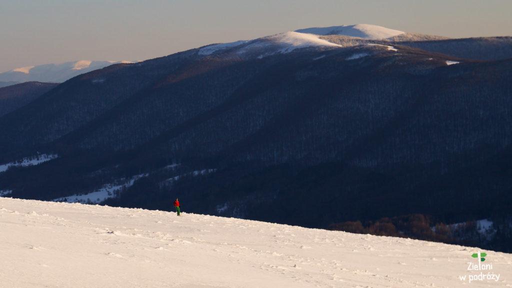Sporo turystów skorzystało z bezchmurnej pogody. Dużą grupę stanowiły osoby zjeżdżające po zboczach na nartach.