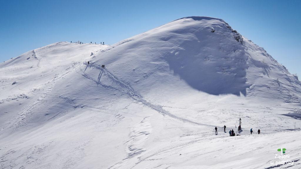 Widok na Przełęcz pod Tarnicą. Widać wyraźną ścieżkę prowadzącą na szczyt Tarnicy oraz postawiony tam krzyż.