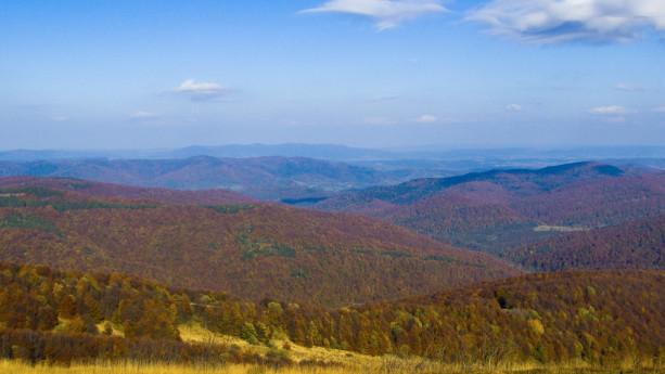 Kolorowe lasy w dolinach.