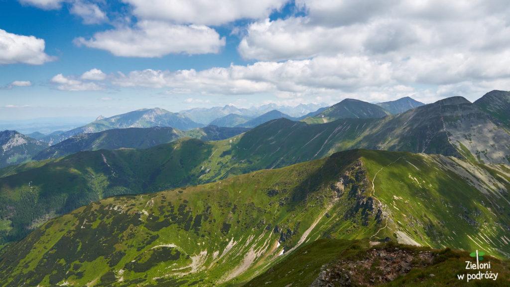 Panorama ze szczytu Wołowca. W oddali Tatry Wysokie.