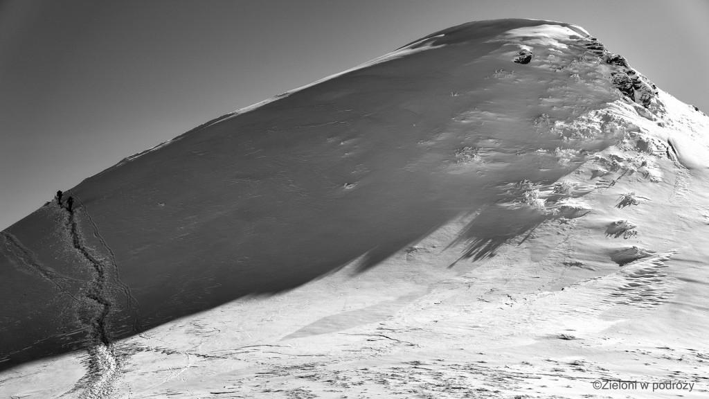 Z przełęczy na szczyt Tarnicy. Ścieżka trawersuje po lewej by wyprowadzić ostatecznie na szczyt.