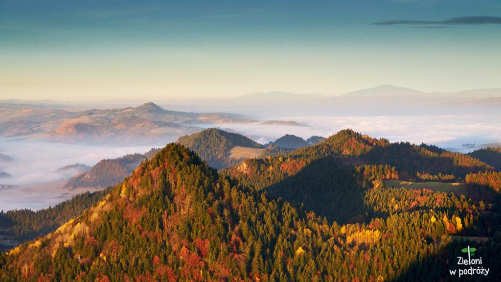 Pieniny w pigułce - strzeliste wzniesienia i mgły zalegające w dolinach
