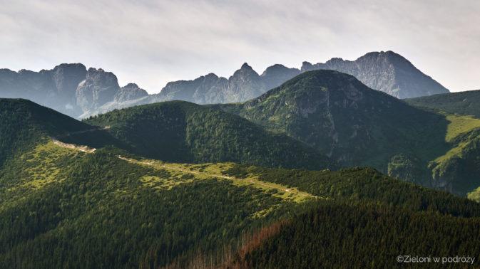 Droga do Doliny Gąsienicowej. Świnica, Kościelec i Kozi Wierch w tle