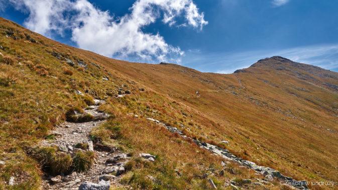 Ścieżka trwaersuje zbocze, ale szczyt już widać