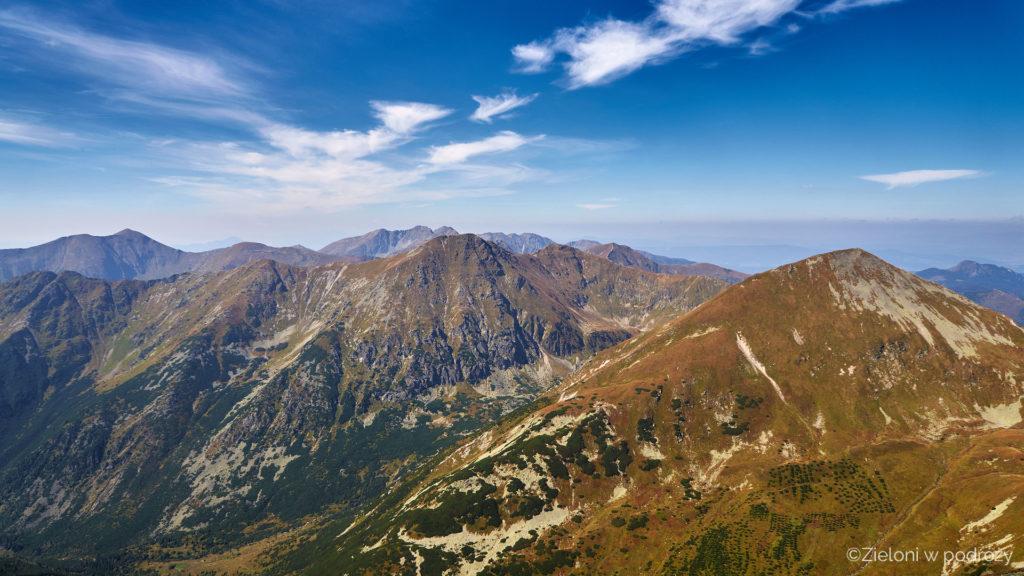 Bystra i widok w kierunku pozostałych szczytów Tatr Zachodnich