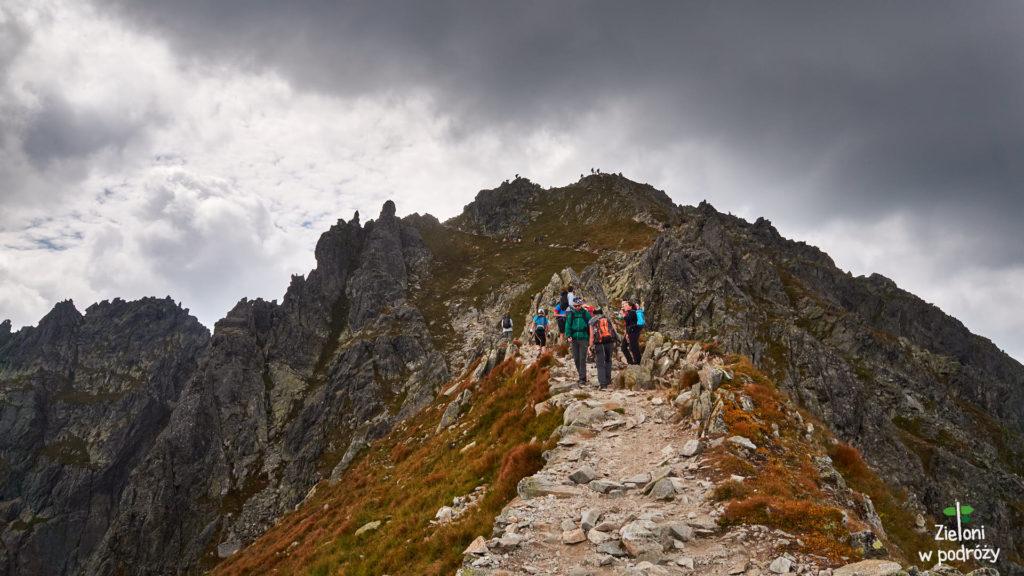 Droga z przełęczy na szczyt. Teren jest już tutaj łatwiejszy