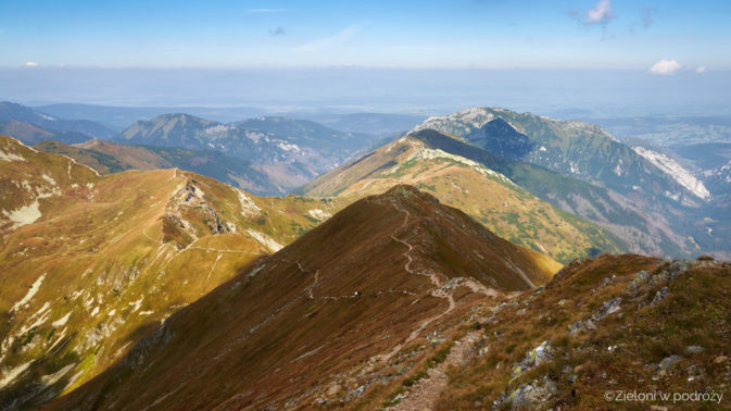 Widok z okolic wierzchołka Bystrej w stronę Błyszcza