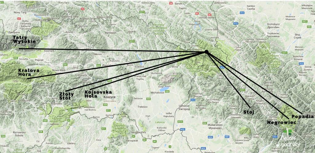 Dalekie obserwacje z Bieszczad na mapie