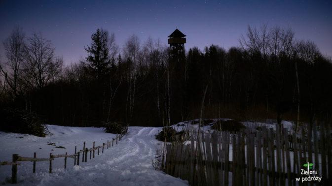 Widać już kontur wieży na Koziarzu. Wiem, że zdąże przed wschodem
