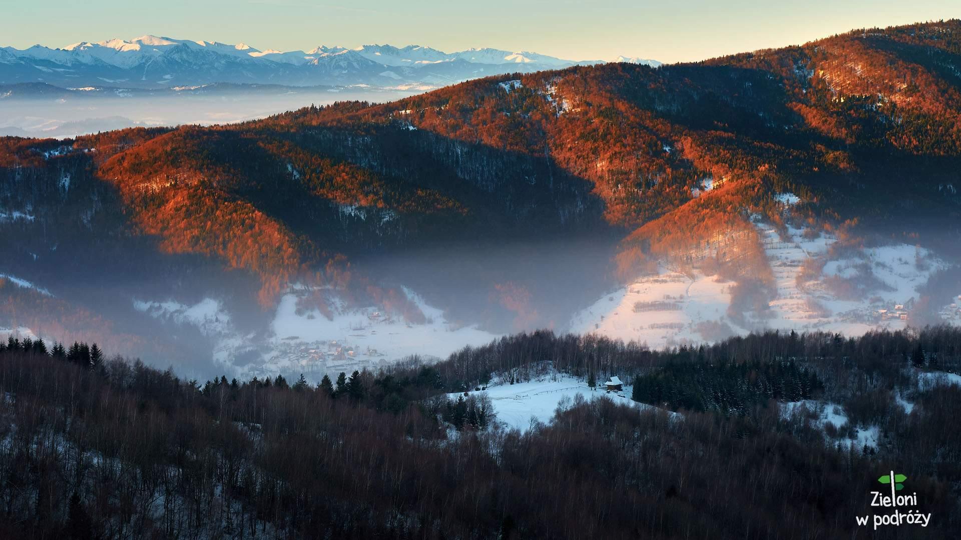 Zima w Beskidzie Sądeckim – wieża na Koziarzu