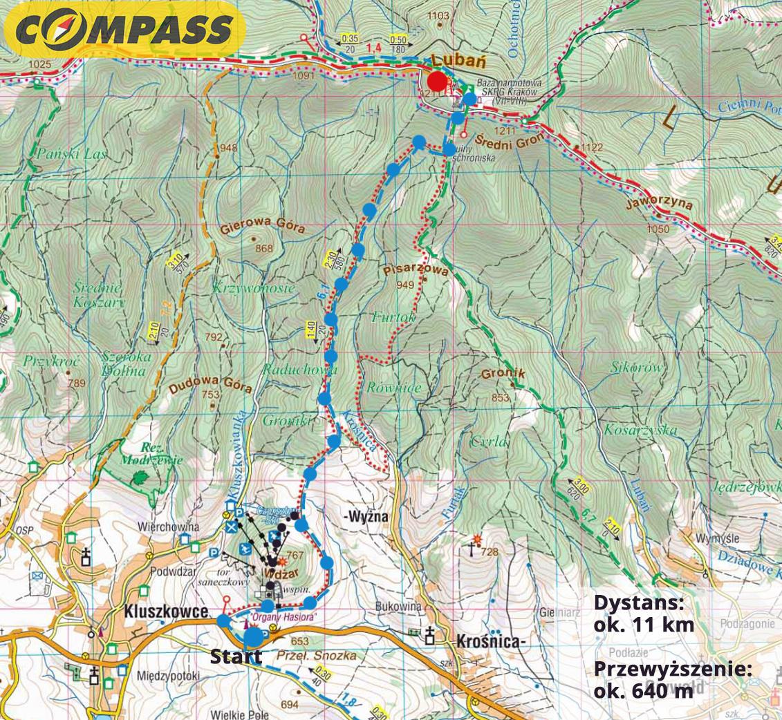 Szlak na Lubań z Przełęczy Snozka