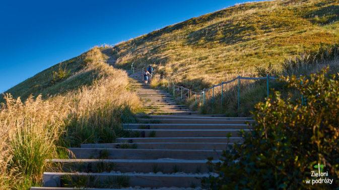 Z przełęczy, schodami na Tarnicę
