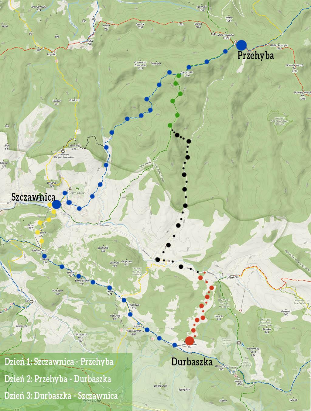 Szlak na Przehybę i Durbaszkę