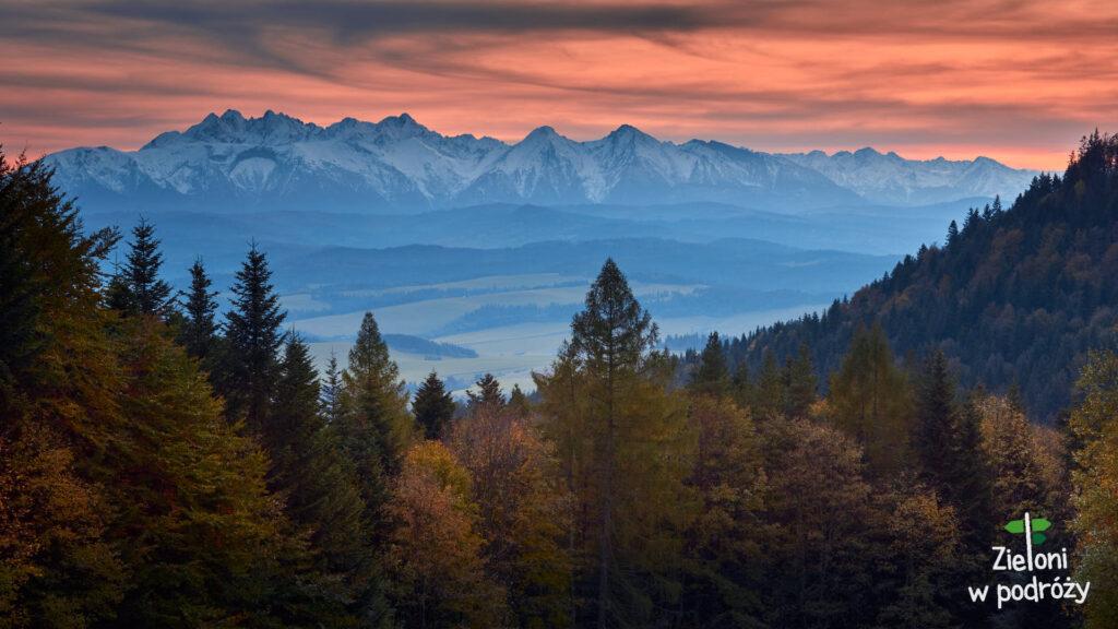 Przełęcz Szopka i Tatry w oddali