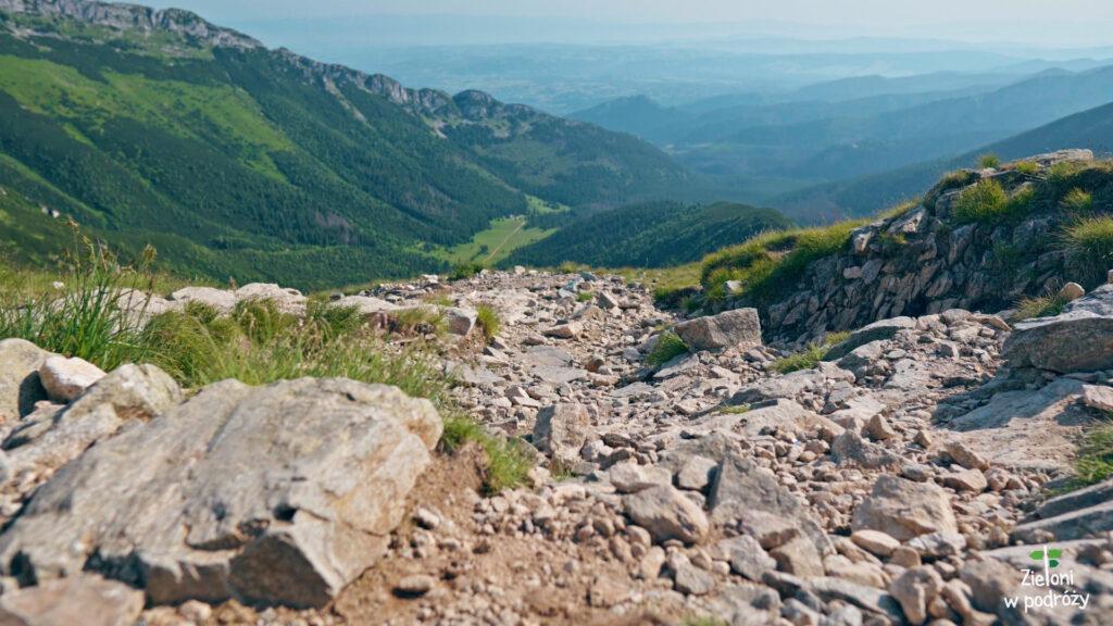 Widok z Przełęczy pod Kopą Kondracką w stronę Doliny Kondratowej